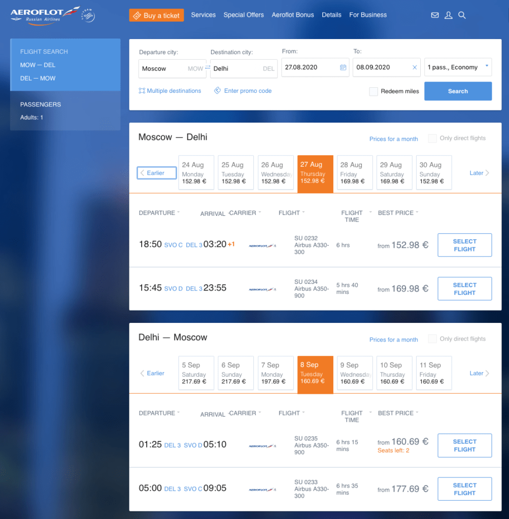 Aeroflot from Moscow to New Delhi from the end of August 2020 for 298€.