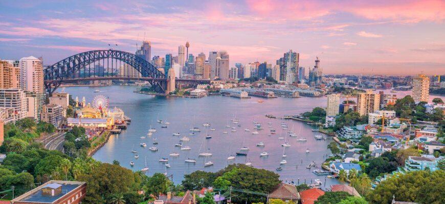 Австралия 2021 _downtown sydney skyline australia from top view twilight